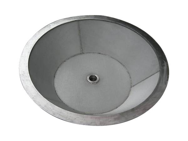 One sintered filter with basin design, flat bottom, with a hole in the center.