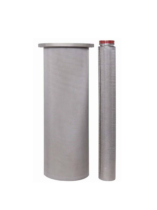 Two sintered filter cartridges, one is with flat top and the other has threaded connector and double red o-rings.