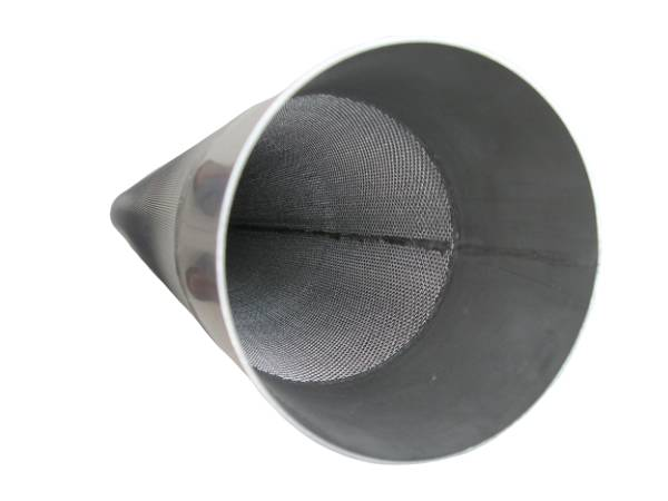 One sintered filter with cone shape, a wide metal edge.
